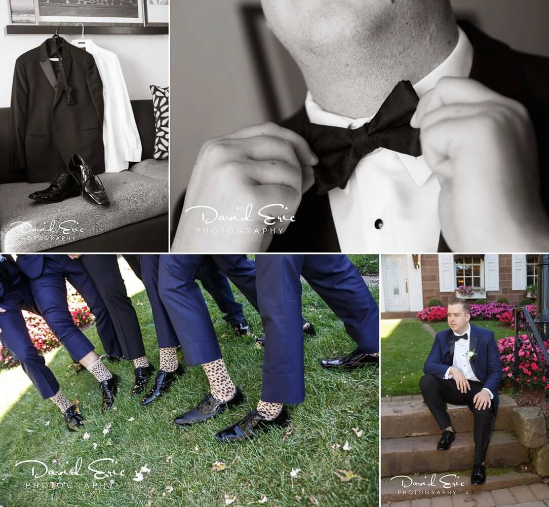 Wedding at The Brownstone photos of grooms Prep fixing bow tie and crazy wedding sock