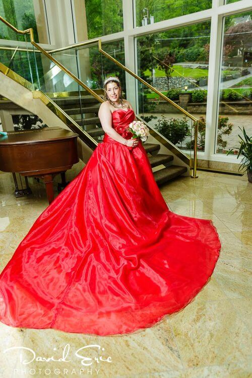 Red Wedding Dress at a New Jersey Wedding