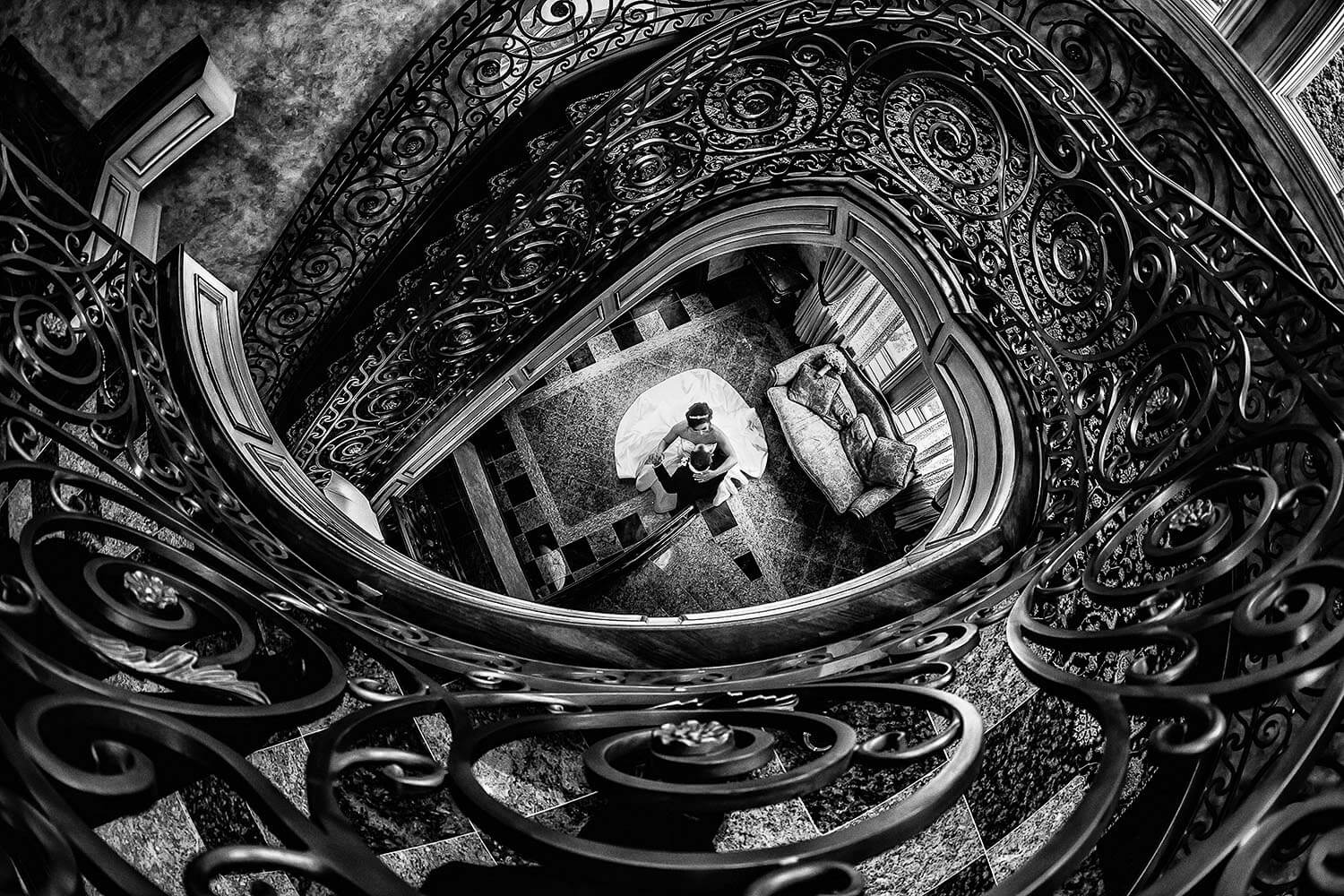 Wedding Venues New Jersey Bride and Groom at The back staircase at Seasons Catering New Jersey Wedding Photographer