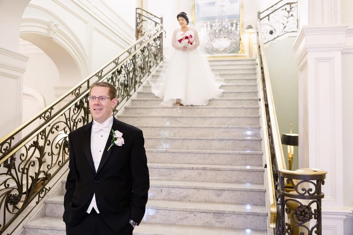 Wedding Venues New Jersey Rockleigh Country Club first look on grand staircase